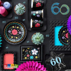 Set Black Flower 60