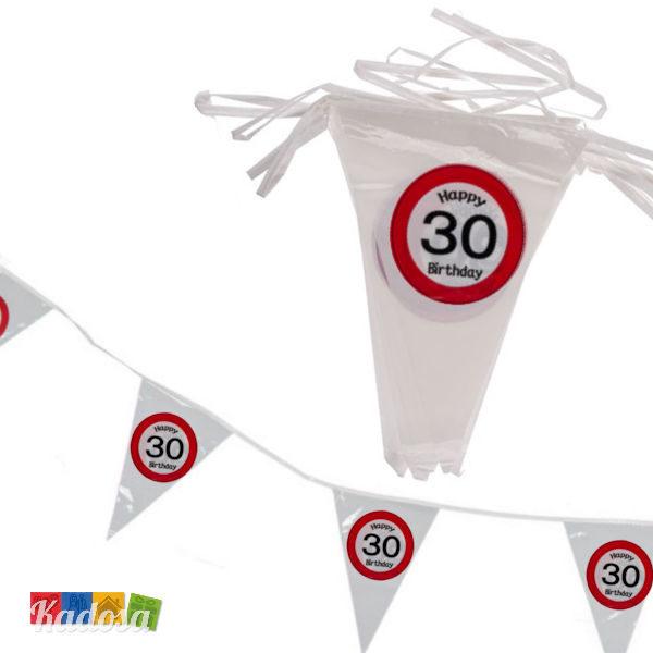 Striscione Bandierine 30 anni festa compleanno happy birthday segnale stradale cartello decorazioni allestimento accessori ghirlanda banner - Kadosa 145182