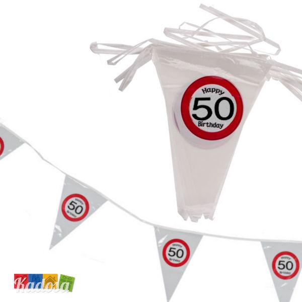 Ghirlanda Bandierine 50 Anni Segnale Stradale