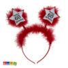 Cerchietto 60 anni segnale stradale Happy Birthday piume rosse peluche rosso party festa di compleanno auguri scherzo amici gadget accessori - Kadosa 181107