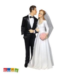 Wedding Cake Topper Sposi con abbracciati Bouquet Rose Statuine Nozze Torta Nuziale Decorazione Matrimonio - Kadosa