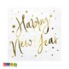 Tovaglioli Happy New Year Bianchi stelle Oro capodanno nuovo anno allestimento accessori festa party SP33-81-008-019ME 0 - Kadosa