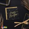 Tovaglioli Happy New Year Neri stelle Oro capodanno nuovo anno allestimento accessori festa party SP33-82-010-019ME - Kadosa