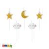 Bellissime Candeline Nuvoletta Bianche e Oro Set 6 pz - Kadosa