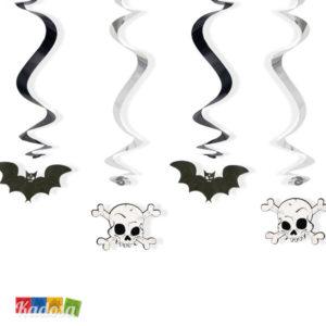 Set 5 Ghirlande Halloween con Spirale a Caduta Pipistrelli e Teschi Banner Pendagli Allestimento Festa Hooror Fantasy SWID13 - Kadosa