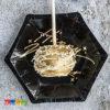 6 Mini Piatti Happy New Year Elegant Black di Carta Forma Esagonale Neri e Oro Capodanno Festa Fine Anno TPP27-010 1
