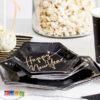 6 Mini Piatti Happy New Year Elegant Black di Carta Forma Esagonale Neri e Oro Capodanno Festa Fine Anno TPP27-010 2