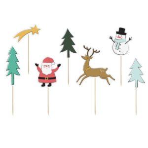 Topper Merry Xmas Natale Buon Babbo Festa decorazione decorare tavolata casa famiglia renna pupazzo neve christmas noel albero regali KPT36_01_S - Kadosa