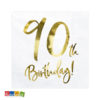 Tovaglioli 90 Anni di Carta con Grande Stampa Oro Set 20 pz - Kadosa