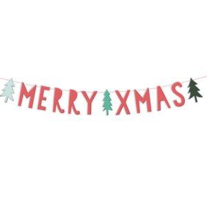 banner Merry Xmas Natale Buon Babbo Festa decorazione decorare tavolata casa famiglia christmas noel albero regali GRL54_03_S - Kadosa