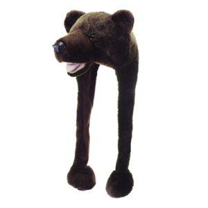 Berretto animali ORSO BRUNO Bear teddy bambino adulto taglia unica festa party inverno caldo peluche carnevale - Kadosa