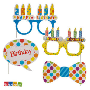 Set Photobooth Happy Birthday con Cornice e Accessori - Kadosa