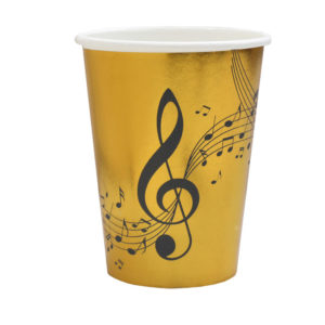 Bicchieri Music Party black nero e oro tovaglia musica party compleanno festa a tema 6666