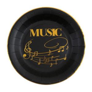 Piatti Music Party black nero e oro tovaglia musica party compleanno festa a tema 6665_11_noir