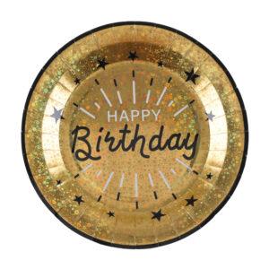 Piatto luci ed oro brillantini dorato happy birthday party compleanno festa a tema 7213_3_oro