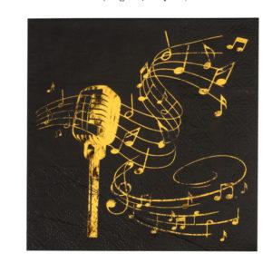 Tovaglioli Music Party black nero e oro tovaglia musica party compleanno festa a tema 6667_11_noir