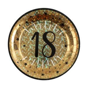 Piatti Luci ed Oro 18 anni Happy Birthday dorati stelle party festa di compleanno da tema 6789