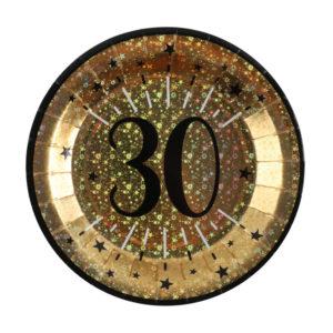 Piatti Luci ed Oro 30 anni Happy Birthday dorati stelle party festa di compleanno da tema 6789