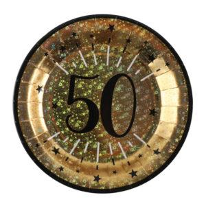 Piatti Luci ed Oro 50 anni Happy Birthday dorati stelle party festa di compleanno da tema 6789