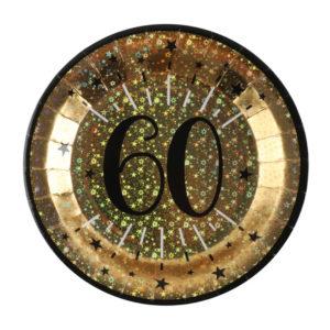 Piatti Luci ed Oro 60 anni Happy Birthday dorati stelle party festa di compleanno da tema 6789