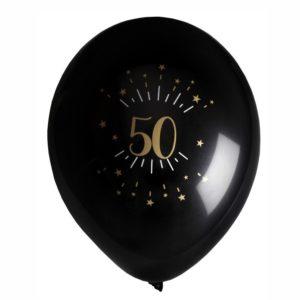 8 Palloncini luci ed oro 50 anni festa party compleanno lattice biodegradabile allestimento 7355