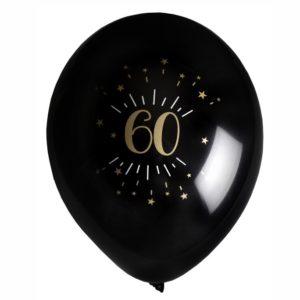 8 Palloncini luci ed oro 60 anni festa party compleanno lattice biodegradabile allestimento 7355