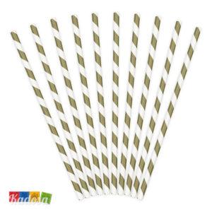 Cannucce Carta Spirale Oro da 19,5 cm in Blister Set 10 pz SPP1-019 - Kadosa